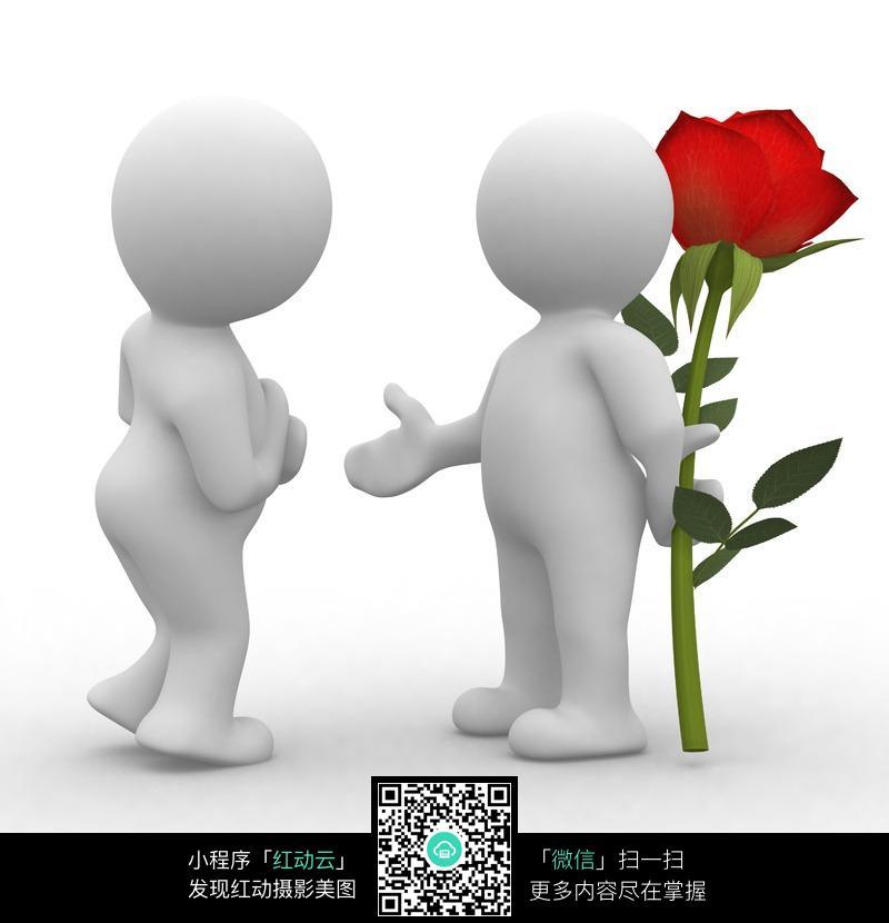 手拿玫瑰花的3d立体情侣小人图片