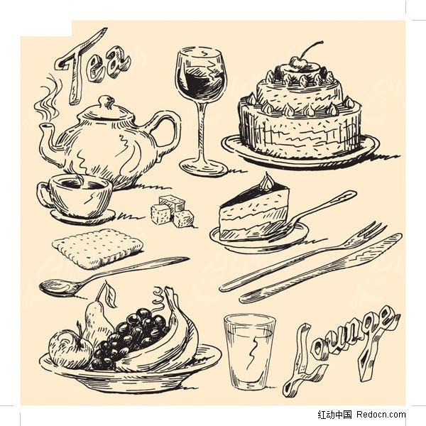 特色饮食手绘矢量素材