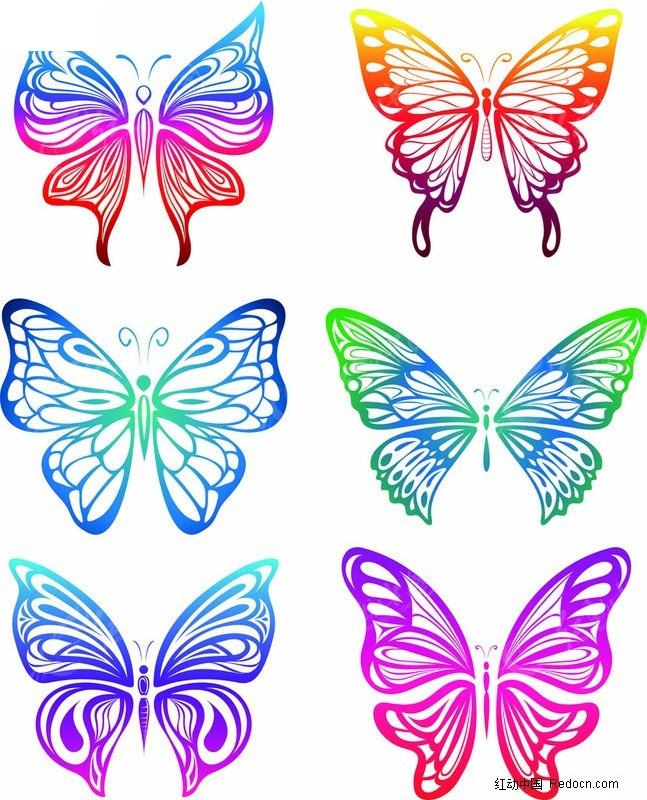 炫彩蝴蝶剪纸图片