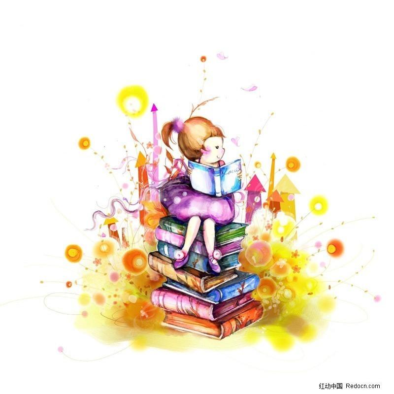 卡通女孩看书图片psd免费下载_卡通人物素材