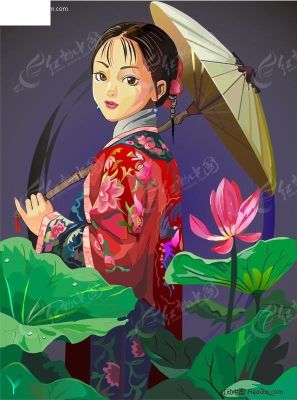 荷花美女图片手绘伞
