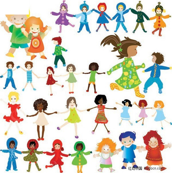 儿童 跳舞 手拉手 漫画 儿童图片 人物素材 人物图片 矢量人物