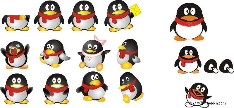 qq企鹅 手绘 矢量图