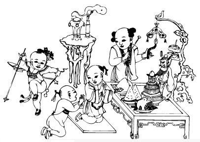 2014马年古代童子年画挂历图片素材