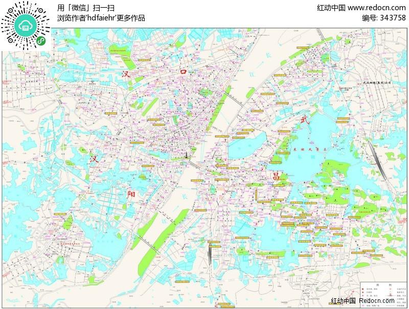 武汉市-矢量地图