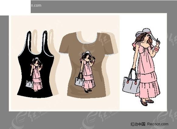 时尚女性t恤图案插画