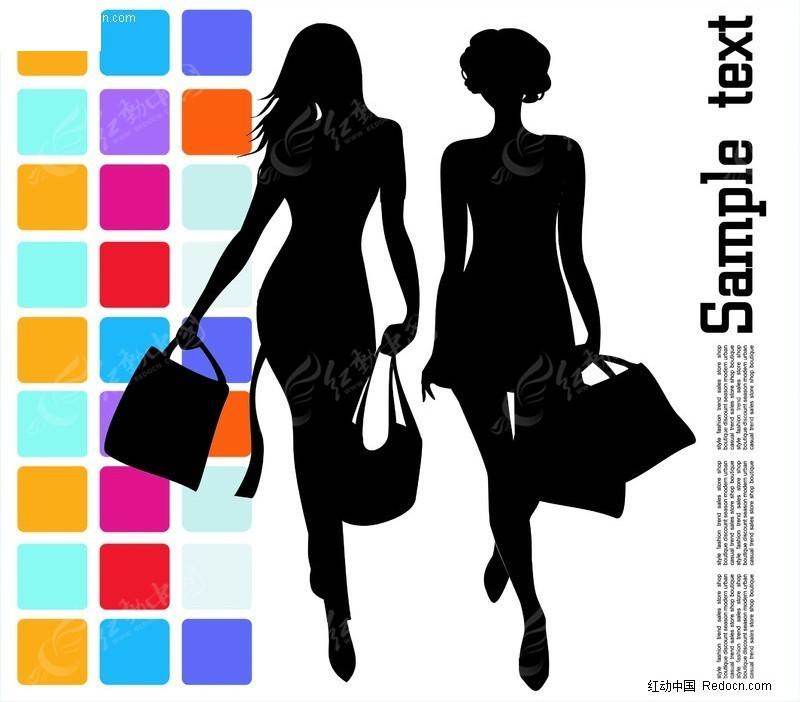 时尚购物美女剪影矢量图