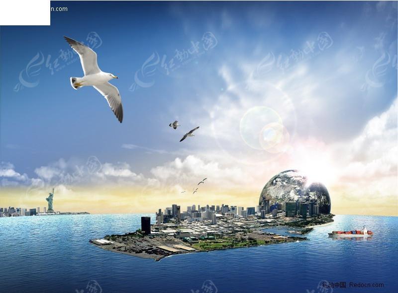 海岛城市创意风景psd分层模板图片