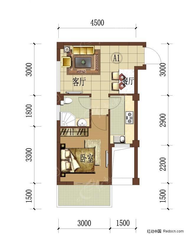 一室一厅户型平面图图片高清图片