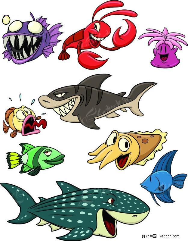 卡通动物矢量图_水中动物