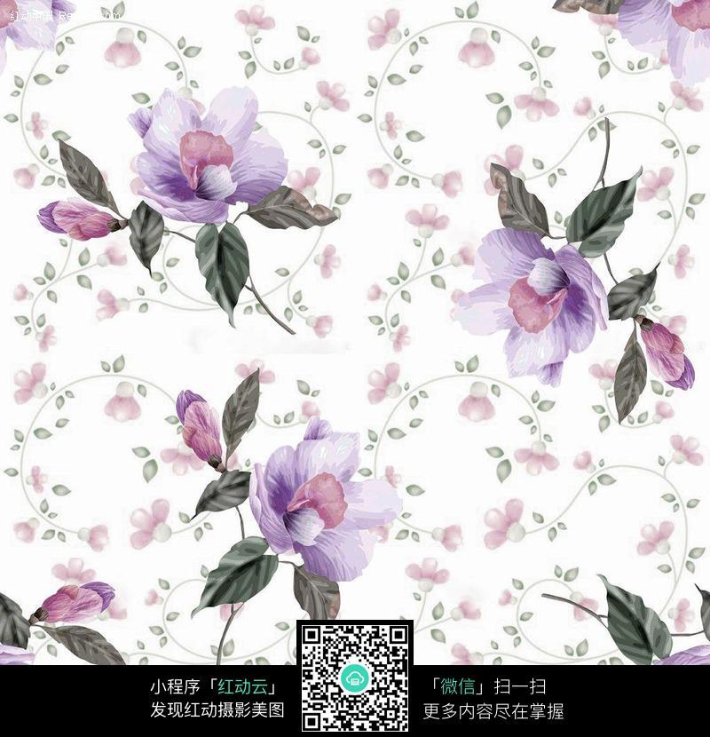 手绘紫色花朵小花背景花纹