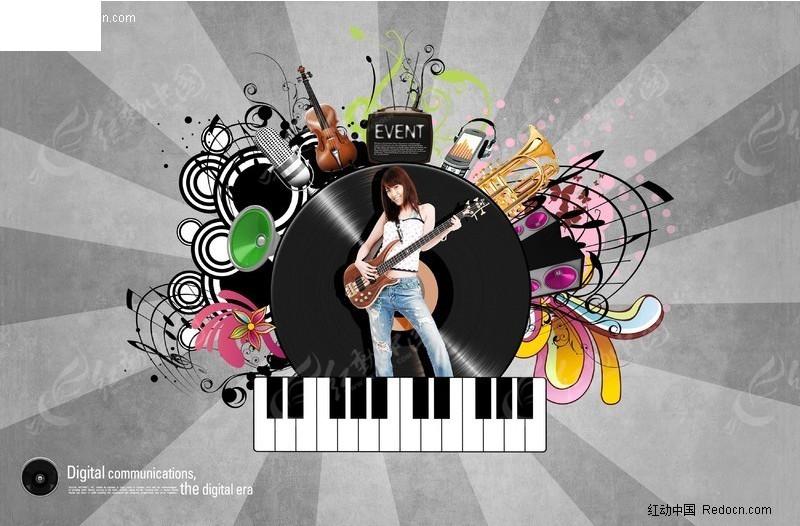 潮流女歌手音乐元素海报psd分层模板
