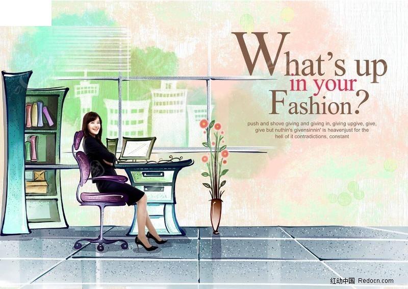 手绘背景的时尚招贴-办公室图片