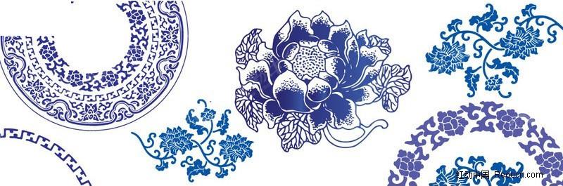 青花瓷花纹 边框矢量图