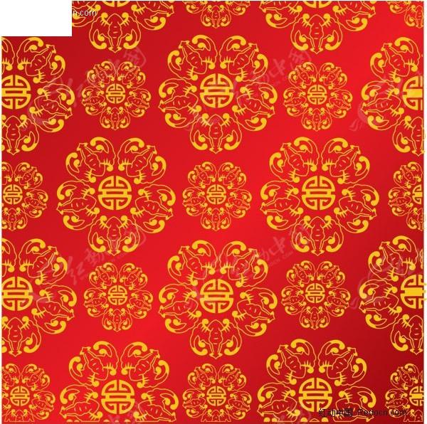 红色中国风纹理背景矢量素材