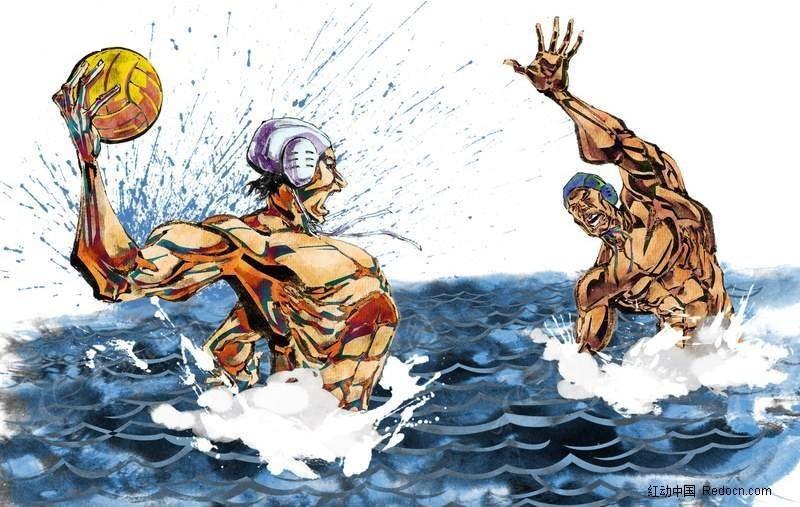 水球比赛手绘插画