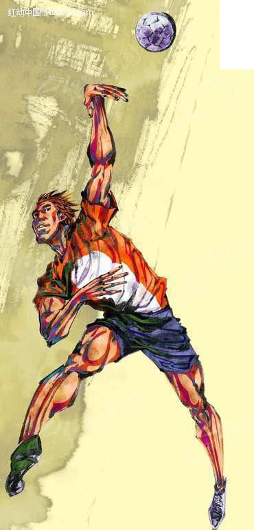 手绘排球人物图片
