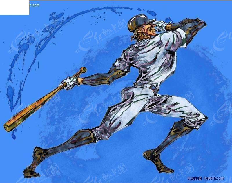 棒球比赛手绘插画