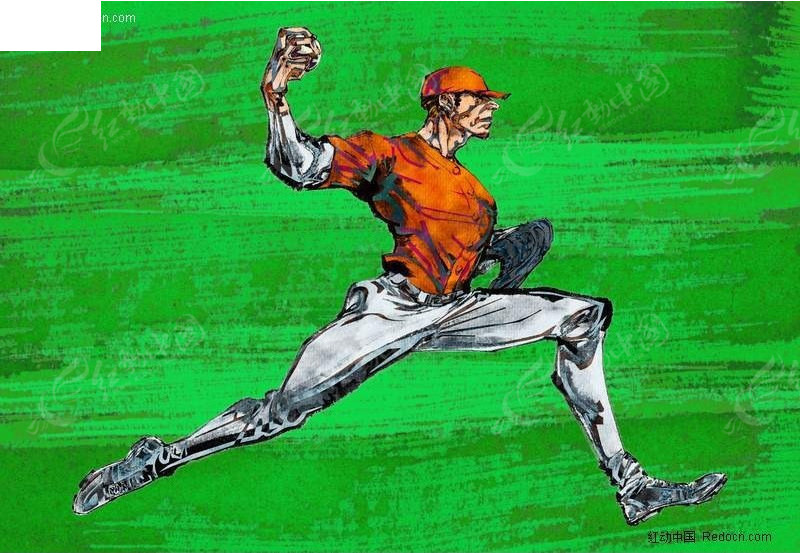 棒球运动员手绘插画