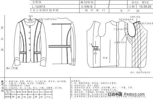 服装设计女装-圆领西装款式图结构图