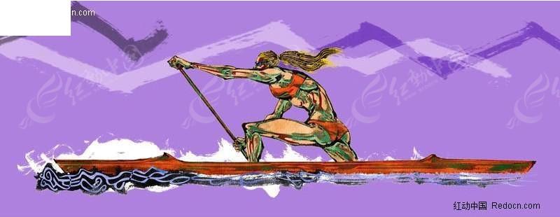 手绘皮划艇运动插画