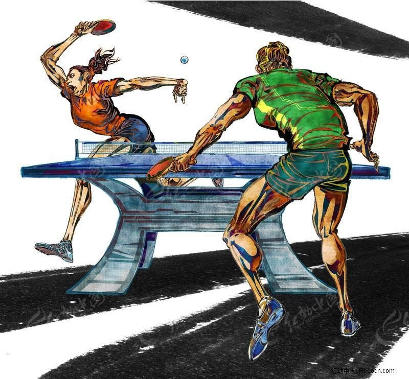 免费插画psd素材psd手绘素材体育运动分层乒乓球比赛素材场景请昆明潜水员培训图片