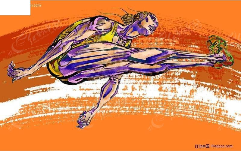 体操人物手绘插画