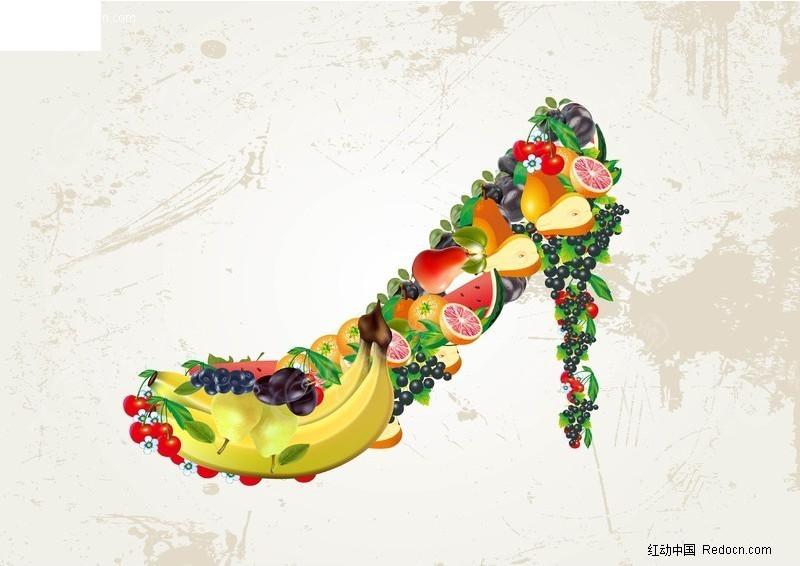 水果高跟鞋矢量图 蔬菜水果