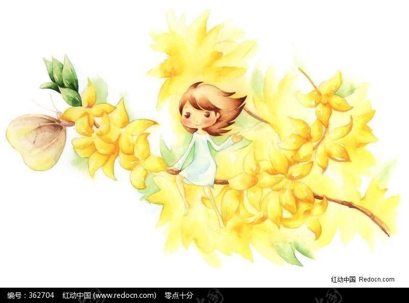 小女孩坐在花丛中儿童画图片