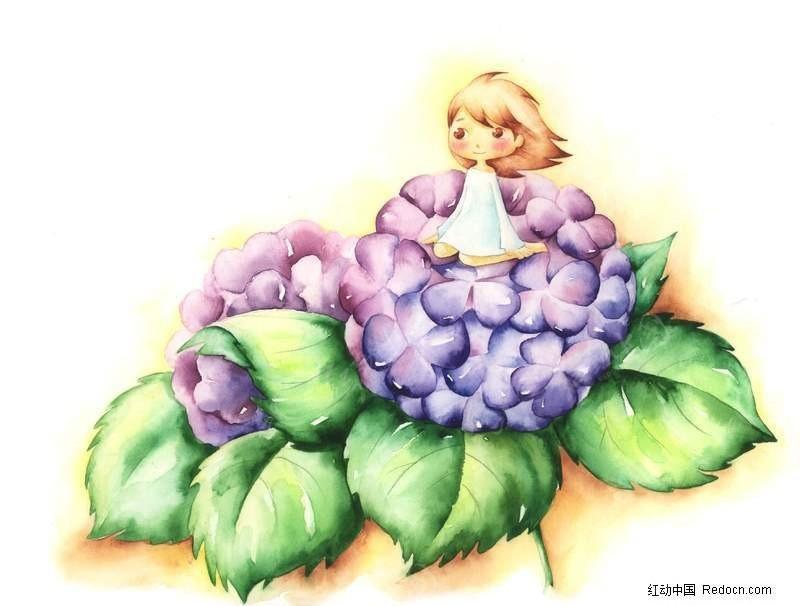 坐在花上的女孩手绘插画