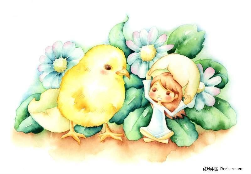 小女孩和小鸡漫画图片