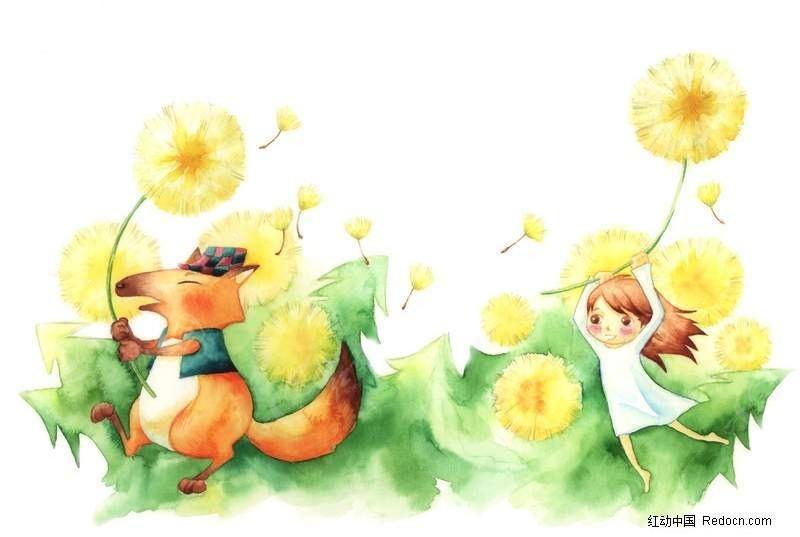 小女孩和狐狸玩蒲公英插画