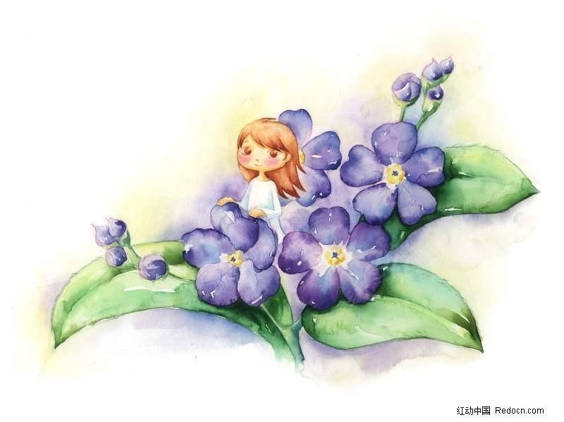 站在花丛中的女孩插画