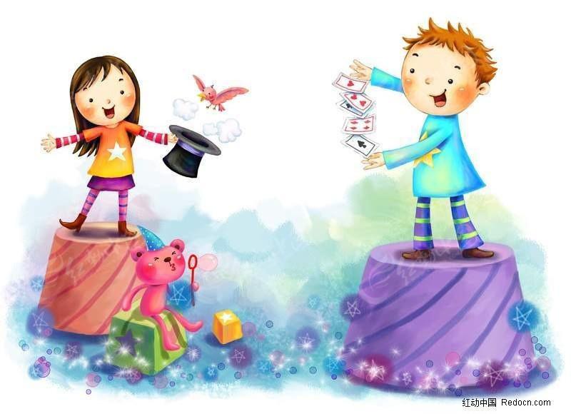 小女孩和小男孩变魔术儿童画