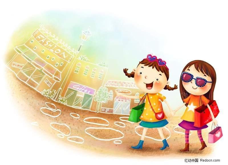2个小女孩购物图片素材 PS绘制卡通人物下载