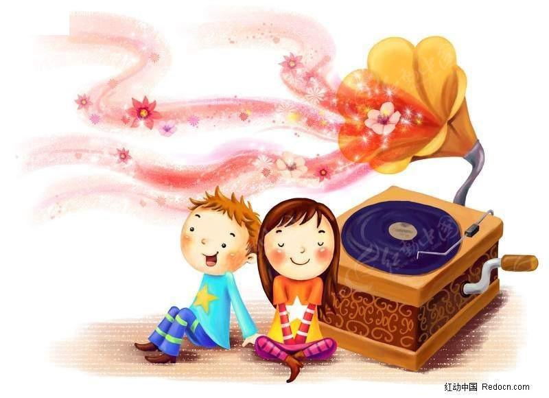 小女孩和小男孩听着音乐图片插画 PS绘制卡通