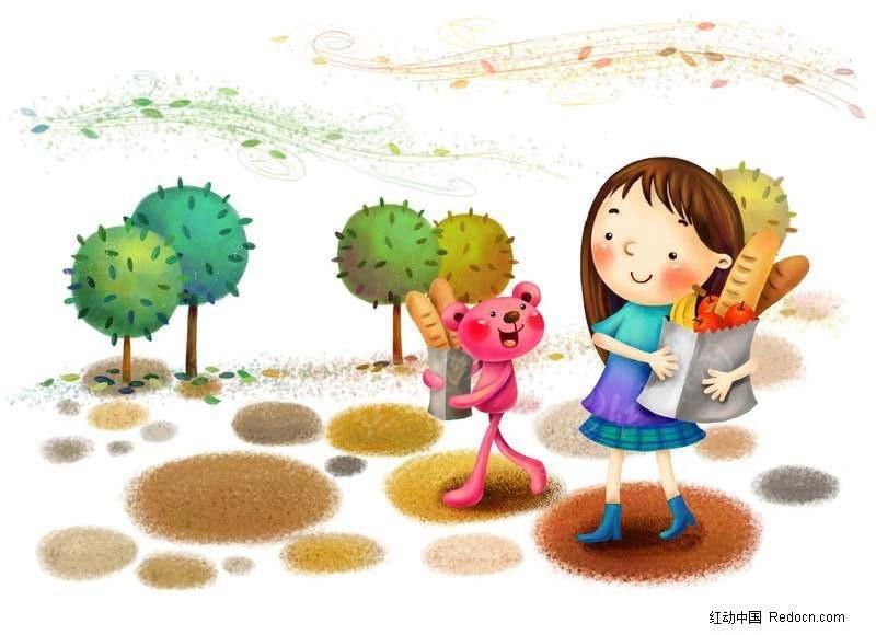 小女孩和小熊买东西回家卡通素材