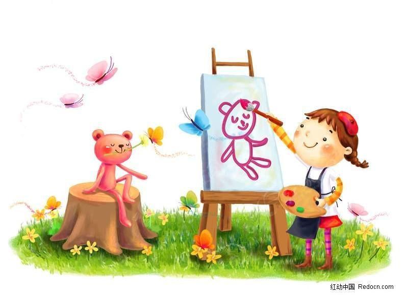 小女孩为小熊画画插画图片