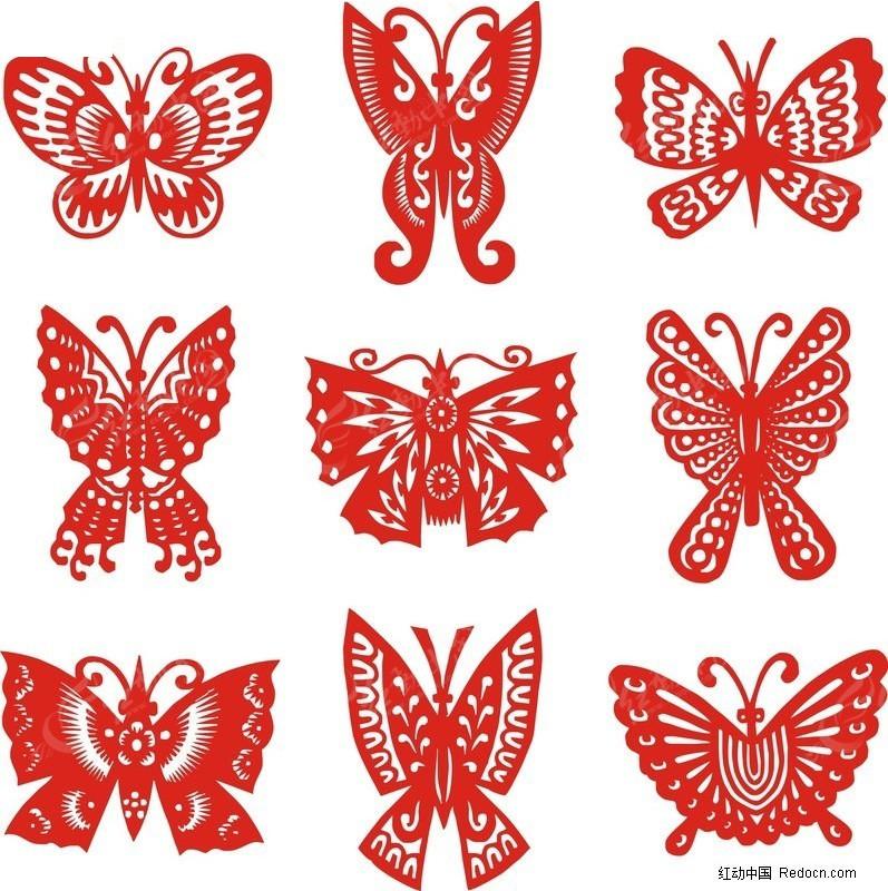 蝴蝶剪纸 蝴蝶 剪纸 传统文化 乡土文化 矢量图 文化艺术 矢量 cdr