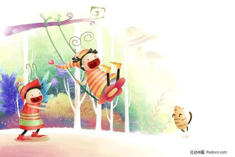 小孩玩荡秋千漫画图片