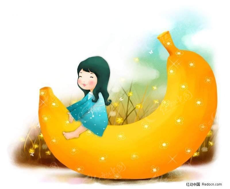 小女孩 坐在 香蕉 上插画素材 卡通人物