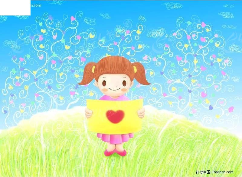 坐在草坪上面看画的小女孩图片
