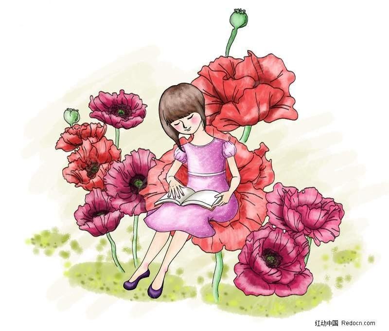 坐在玫瑰花上面看书的小女孩漫画