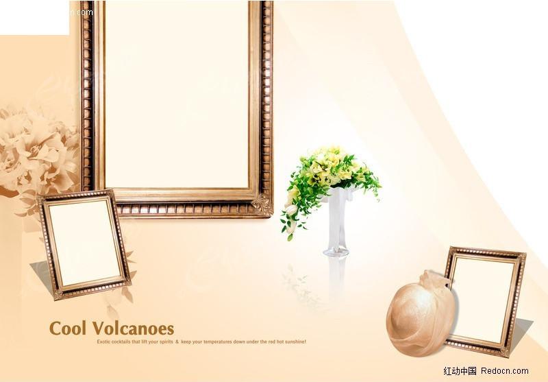儿童相册模版 个人写真模版 婚纱模版psd分层素材 相框 欧式 摄影背景