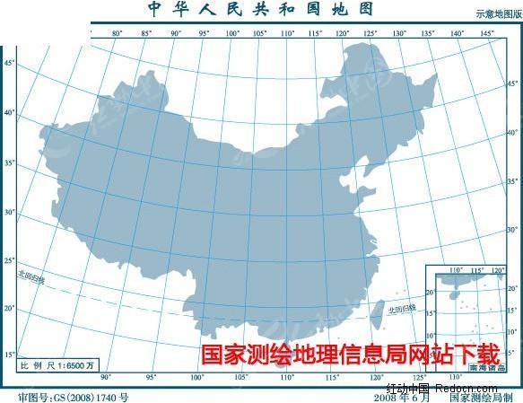 6500万示意地图版5(面积色南海插图)矢量图_其他