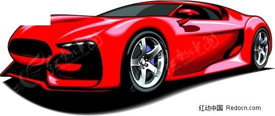 红色卡通小跑车侧面