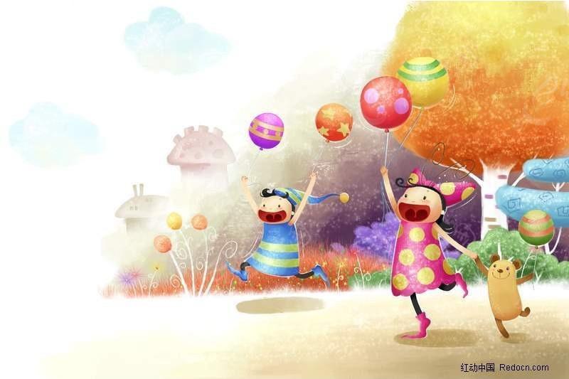 小孩拿着彩球奔跑卡通画