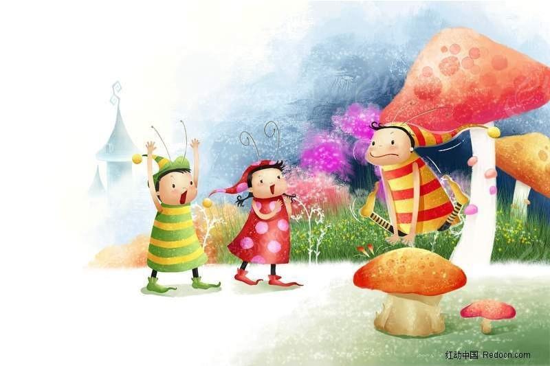 三个小孩玩耍卡通画PSD免费下载 卡通人物素材 编号370312图片