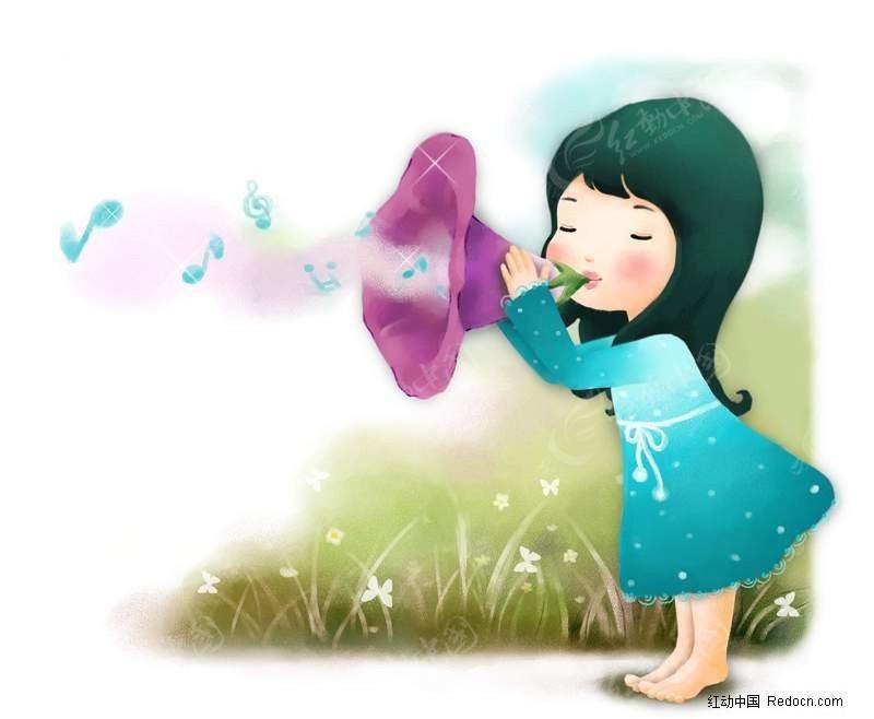 吹喇叭的女孩漫画 PS绘制卡通人物下载编号: