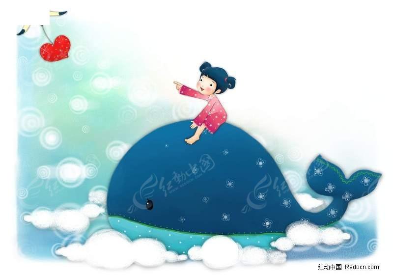 小女孩坐在鲸鱼上的插画图片